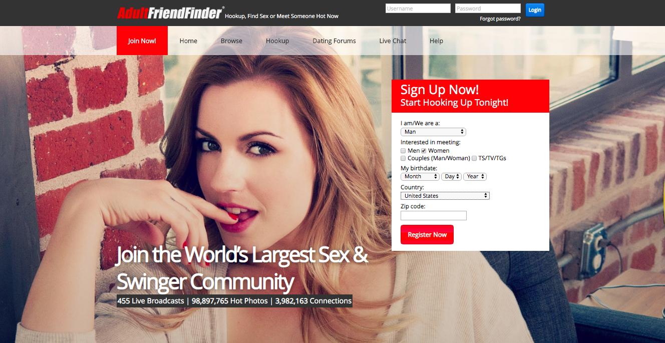 Adultfriendfinder login page